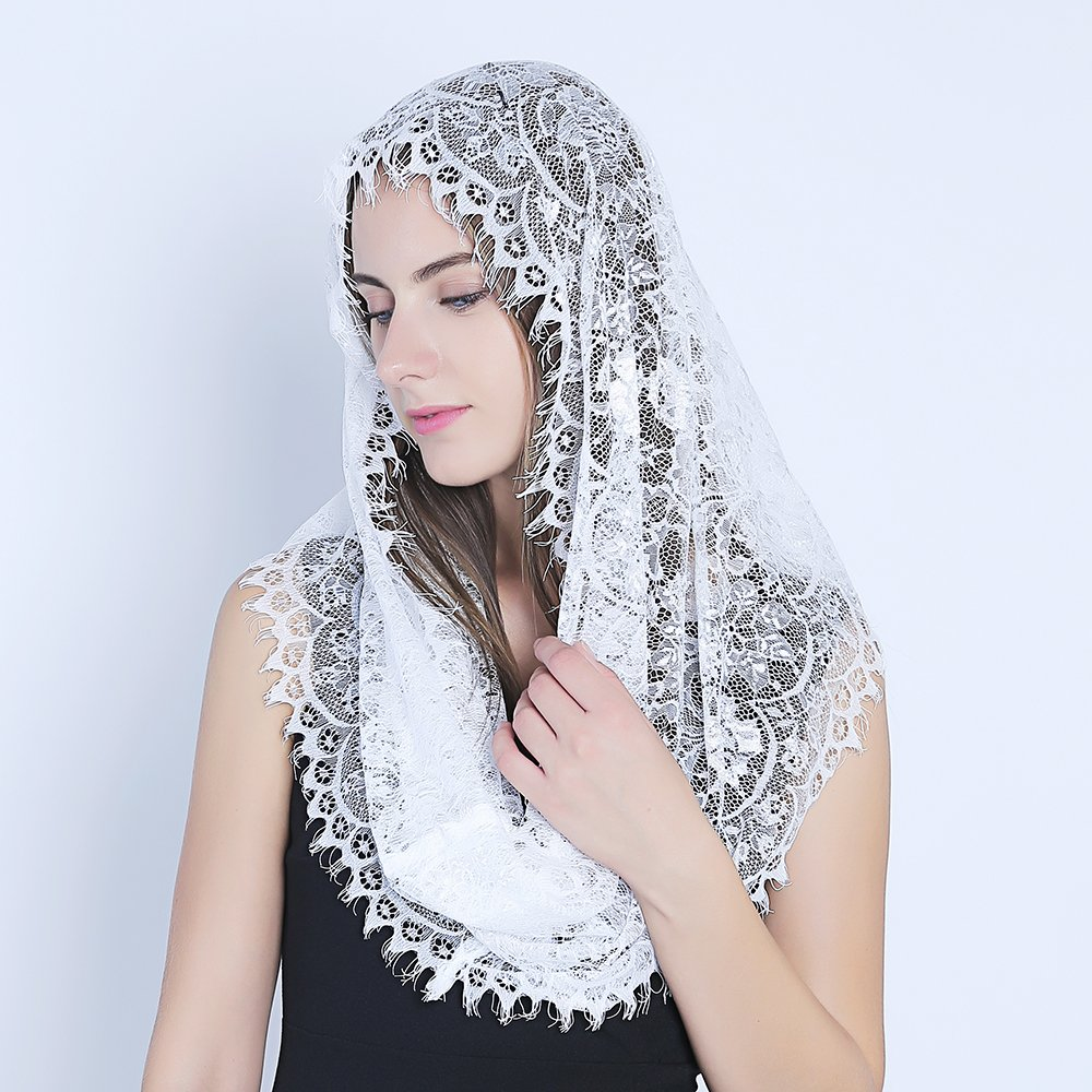 Catholic Veil Church Veil Head Covering Latin... White Infinity Scarf Mantilla