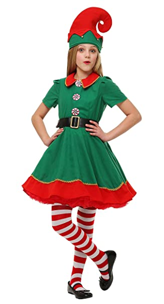 COSKING Christmas Spirit Costume Girls, Kids Halloween Elf Cosplay Outfit  Performance Wear (Tag Size - Amazon.com: COSKING Christmas Spirit Costume Girls, Kids Halloween