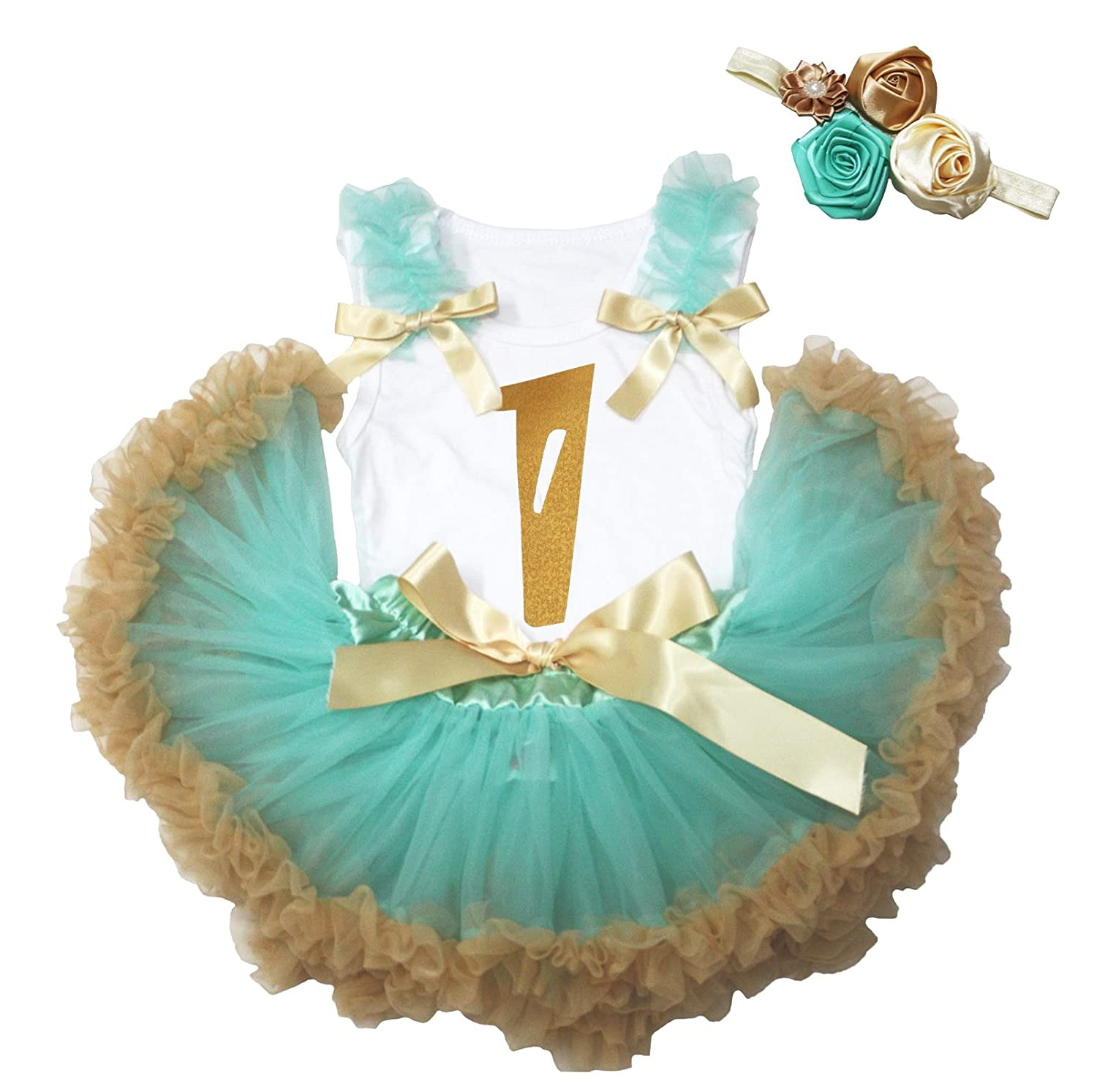 Petitebella Gold 1 White Cotton Shirt Aqua Blue Gold Skirt Outfit 3-12m NS209