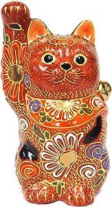 Kutani Japanese Maneki Neko Right Hand Lucky Cat Ceramic