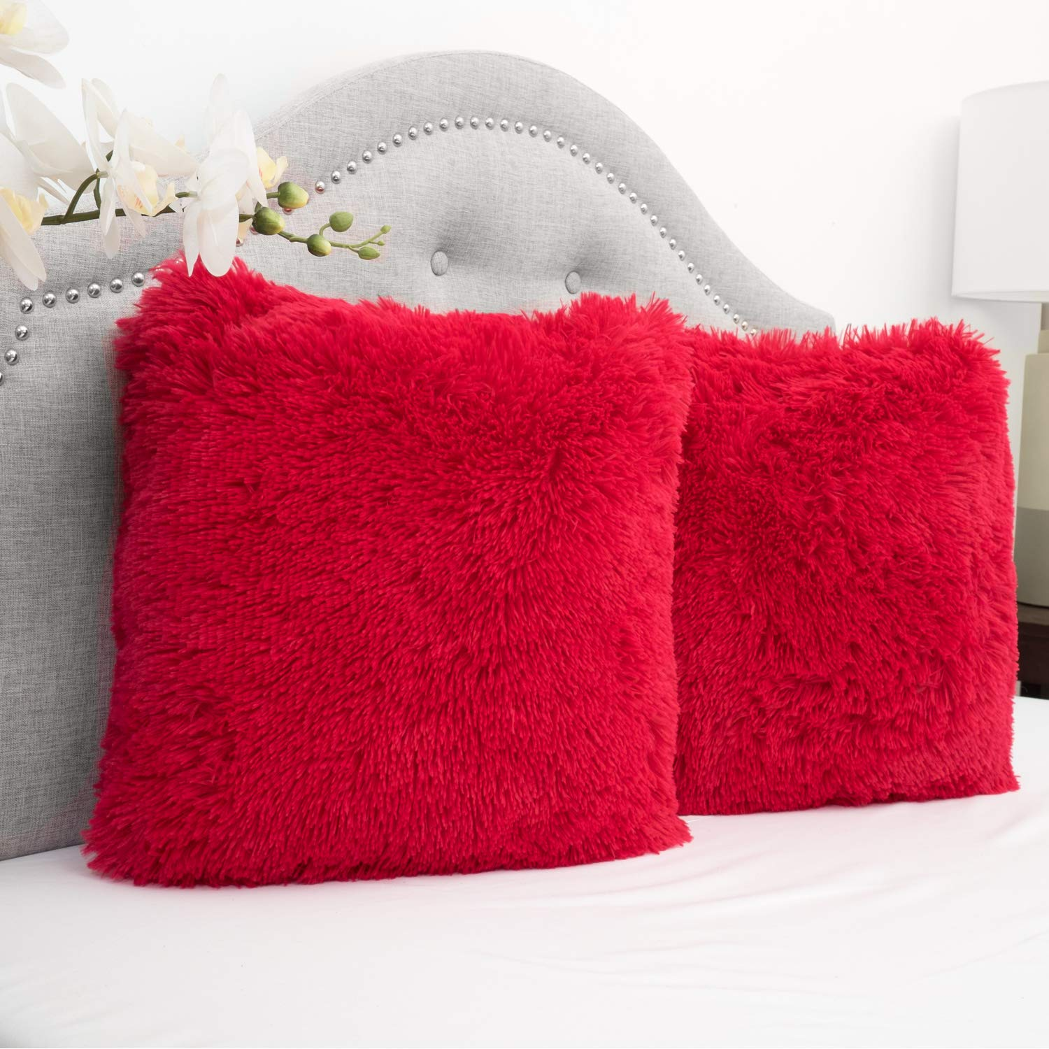 Sweet Home Collection Plush Faux Fur Soft and Comfy Throw Pillow, 2 Pack, Red