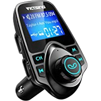 VicTsing FM Transmitter, Bluetooth FM Transmitter Radio Adapter Car Kit with 5V 2.1A USB Car Charger MP3 Player Support TF Card USB Flash Drive, Aux Output and Input - Black