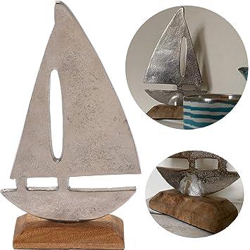 Amazon De Ls Lebenstil Deko Segelschiff Segelboot Alu Holz