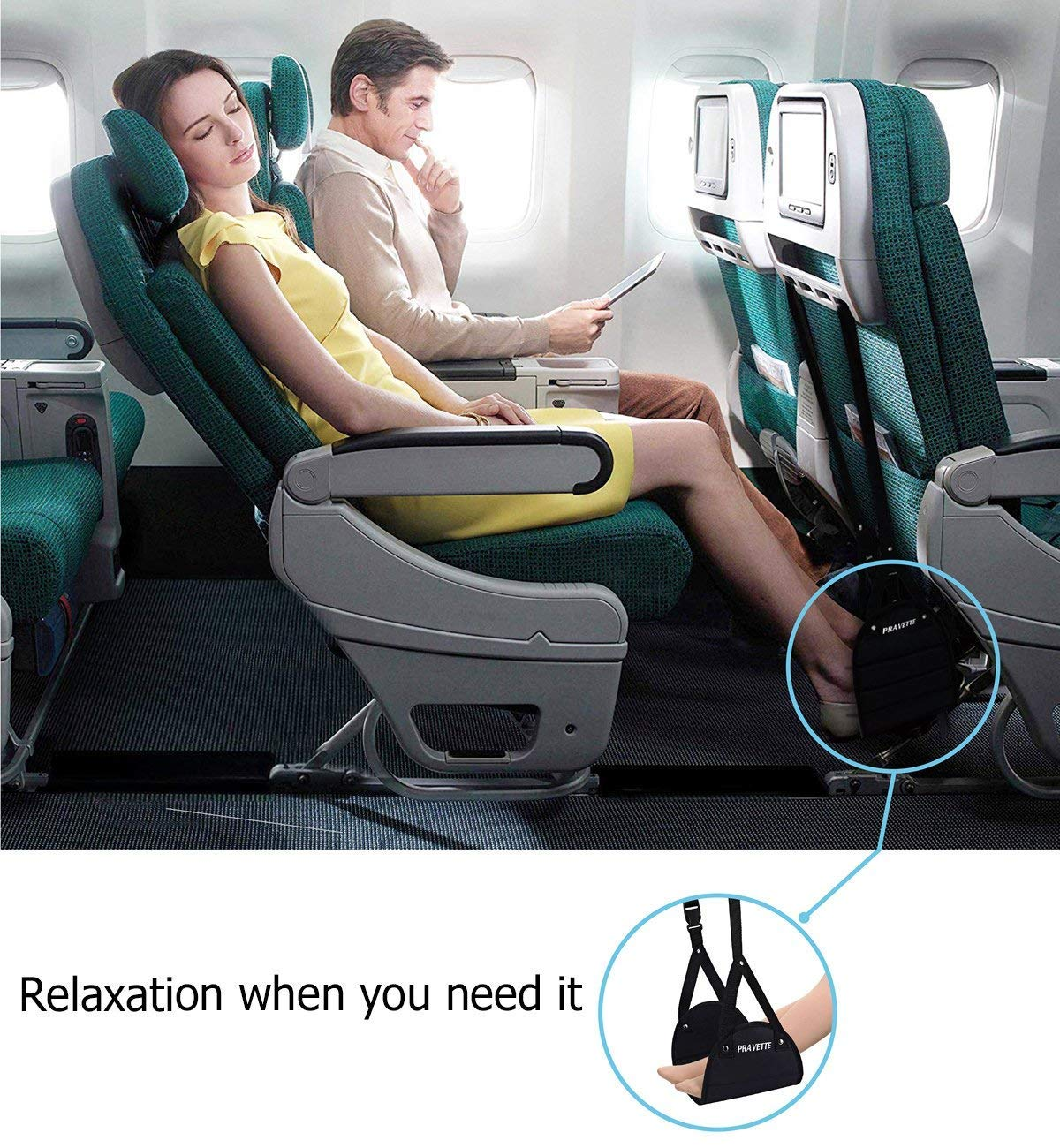 PRAVETTE Foot Rest,Travel Footrest Airplane Leg Rest Flight Foot Hammock Carry-on Travel Pillow Under Desk Accessories by PRAVETTE (Image #6)