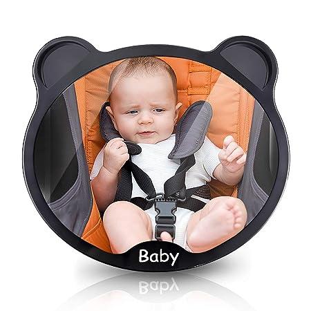 Espejo de Coche para Bebé ELUTO Espejo Retrovisor para Vigilar al Bebé en Coche 360° Ajustable Asientos de Niños Orientados Hacia Atrás 100% Inastillable ...