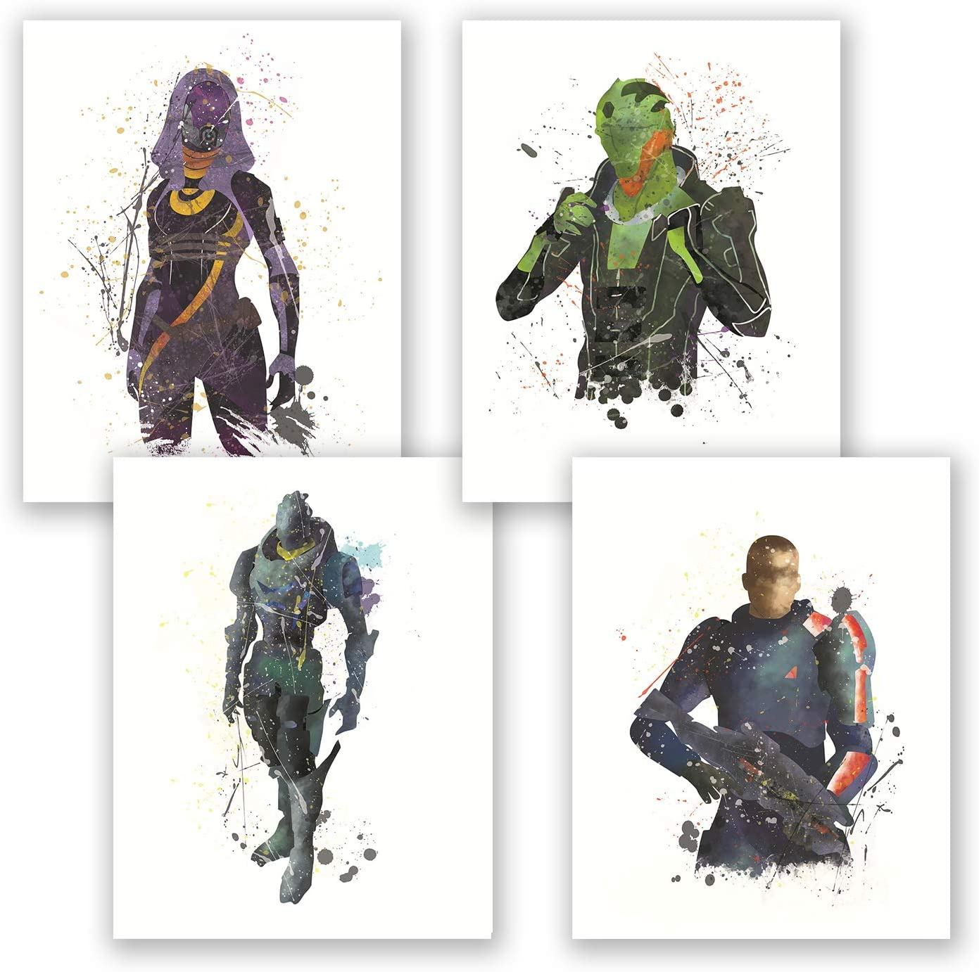 Mass Effect Poster - Set of 4 Prints - Watercolor Inspired Art - Home Wall Decor - Tali Thane Garrus Shepard - Bedroom Poster for Gamers - Gift for Boys (Set, 8x10)