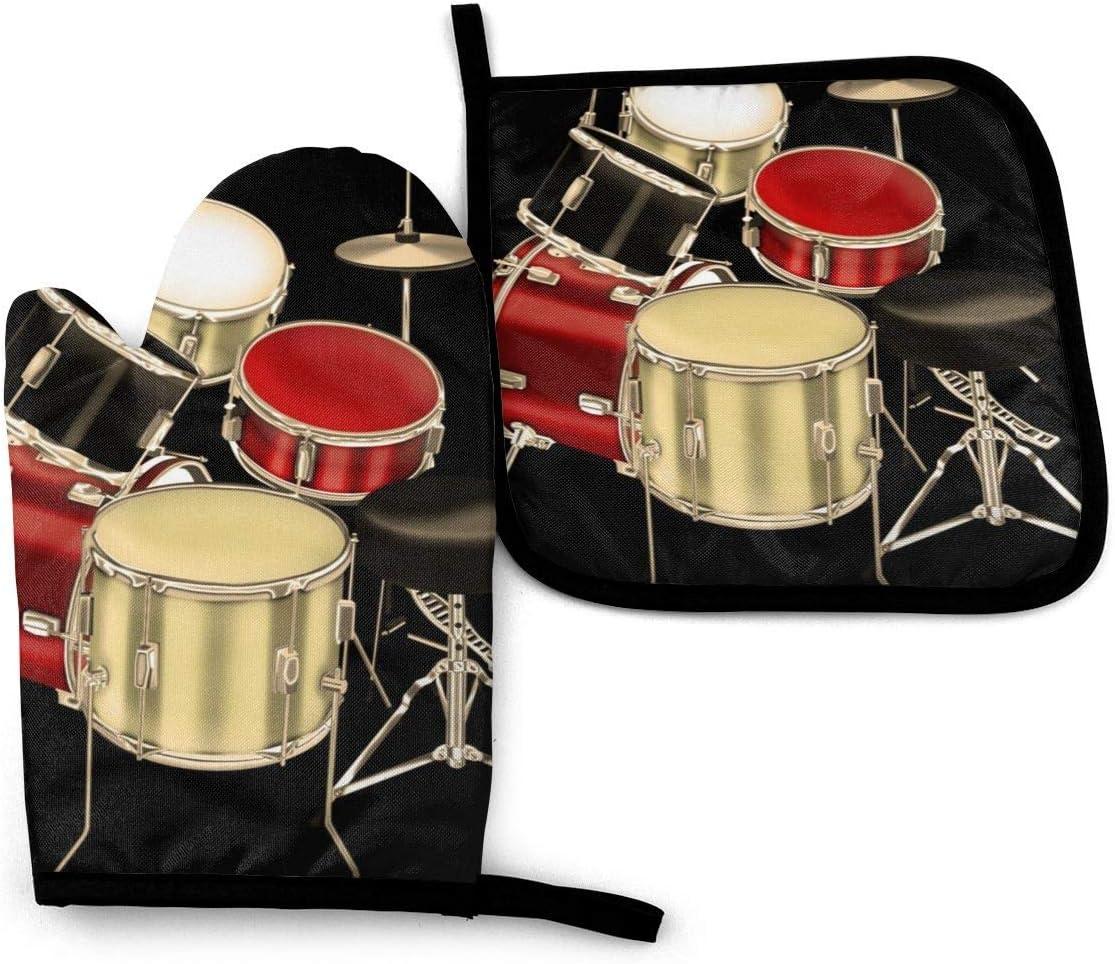 Conjunto de tambor, guantes de cocina y soportes para ollas, cocina resistente al calor y lavable a máquina para cocinar, hornear, asar a la parrilla y barbacoa