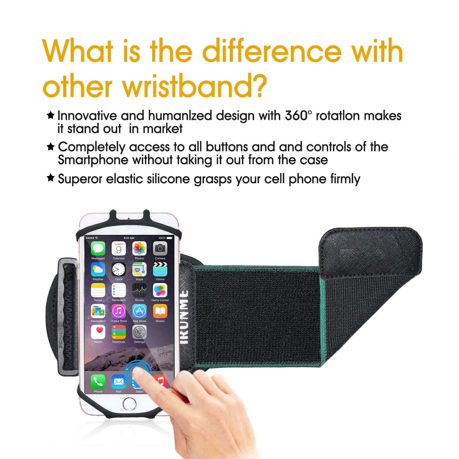 Wristband Phone Holder, 360°Rotatable Universal Sports Wristband for Running, Cycling, Jogging, Hiking, Walking Compatible with Galaxy S8 / Google Pixel