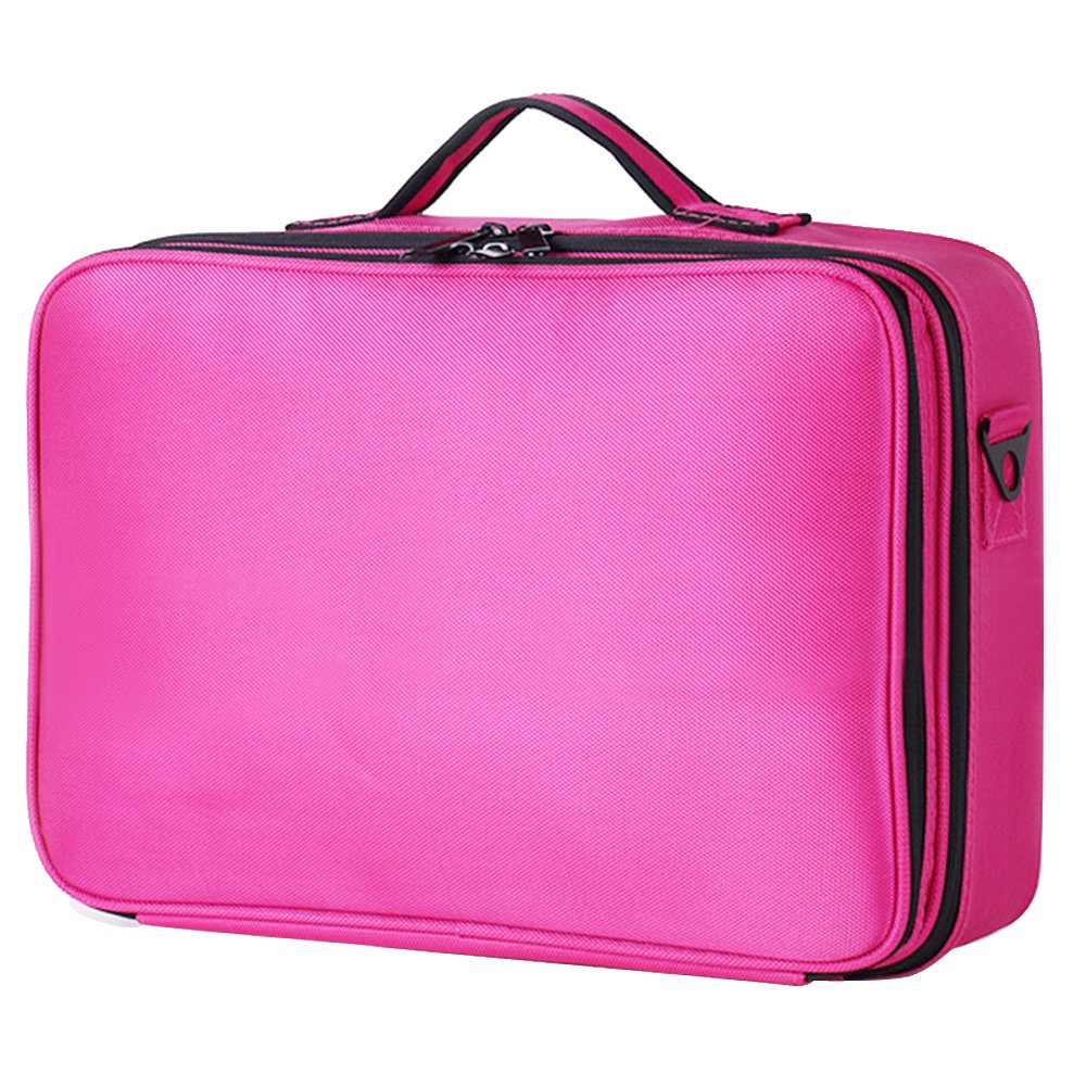 Elisona-Portable Travel 3-layer Large Space Waterproof Makeup Tool Storage Suitcase with Shoulder Straps Rose Red