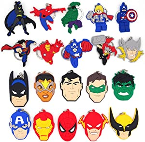 20 PACK Superhero Keychain for Boys Girls Kids Theme Birthday Party Supplies Party Bag Pendant Gift Fillers Key Tags Goodie Bag Stuffer Holiday Charms Key Chains