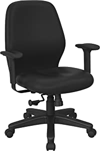 Office Star Ergonomic Mid Back Office Desk Chair with 2-to-1 Synchro Tilt Control and Adjustable Soft Padded Arms, Dillon Black Fabric