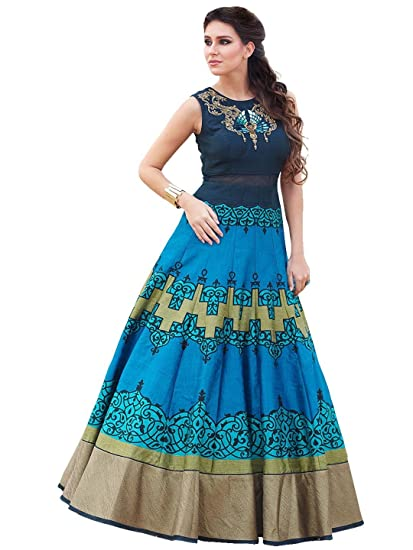0345f107a7eb Whatshop New Sky Blue Colour Floor Touch Semi Stitched Designer Printed Gown:  Amazon.in: Clothing & Accessories