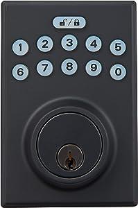 AmazonBasics Contemporary Electronic Keypad Deadbolt Door Lock, Keyed Entry, Matte Black