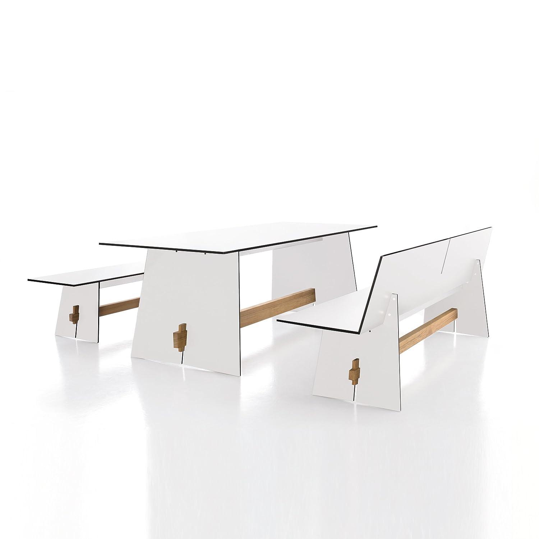 Tension Bank ohne Rückenlehne HPL-Kunststoff weiß mit schwarzer Kante - 220 x 45 cm
