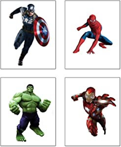 "Superheroes Spiderman Art Painting Superhero Avengers and Hulk Art Prints Set of 4(8""X10'' Canvas Picture) Children Kids Boys Bedroom Decoaration Birthday Gift Poster, No Frame"