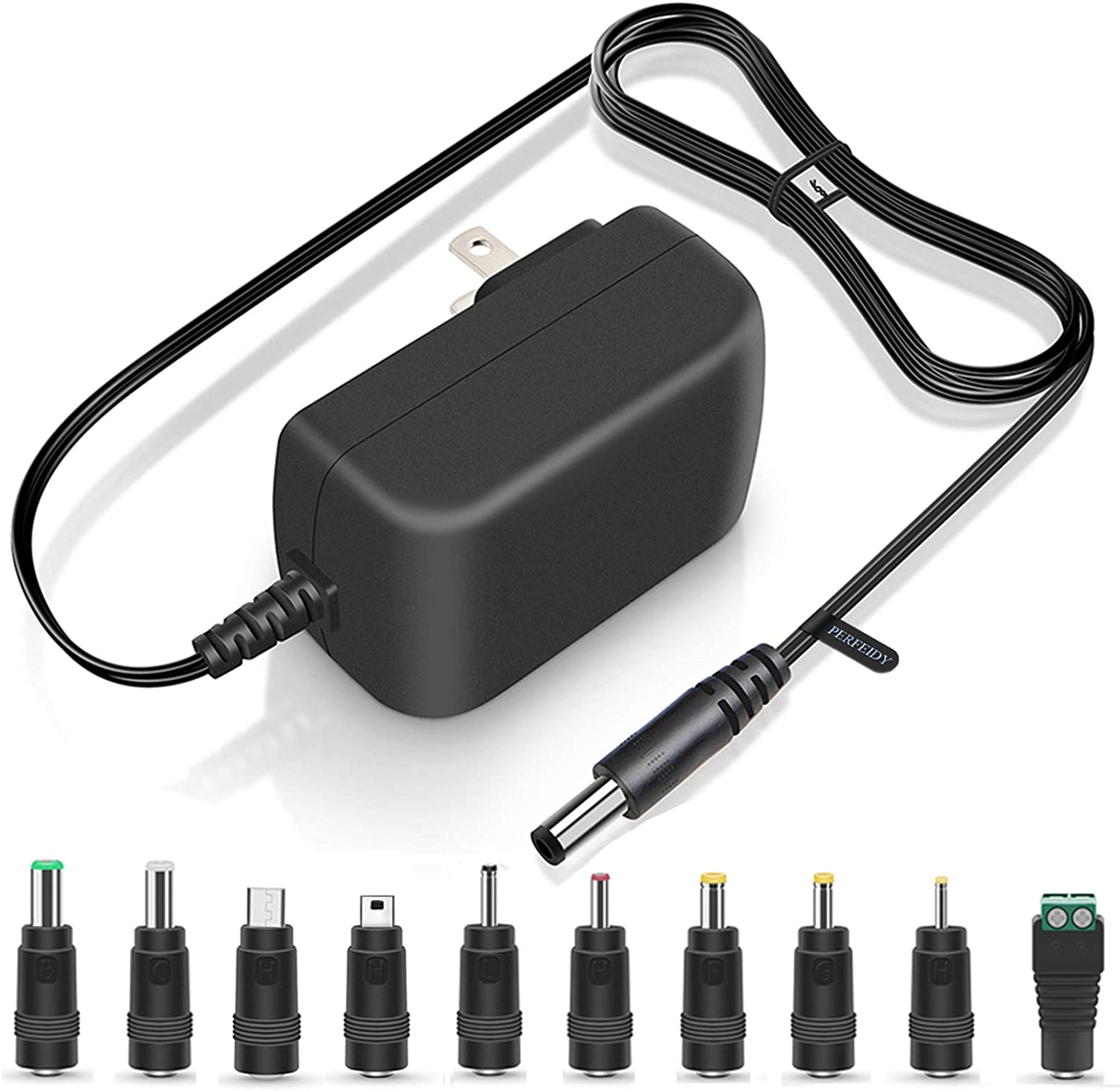 UL Listed 5V 3A 2.5A 15W Universal AC/DC Adapters Power Cord with Multi Tips Replacement Wall Plug Switching Power Supply Regulated Charger for LED Pixel Light Camera Speaker HUB Recorder Transformer