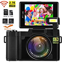 Digital Camera with Wifi DIWUER Video Camcorder 2.7K FHD 24MP 3.0 Flip Screen Vlogging YouTube Camera with 16GB TF Card, UV Lens, Two Batteries