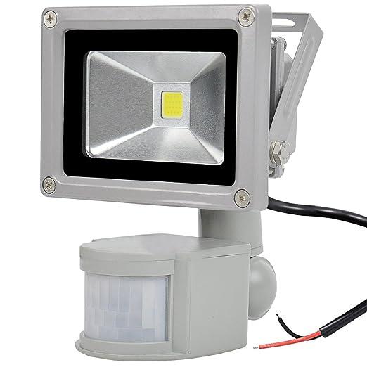 GLW 10W Proyector Sensor de Movimiento LED 12V AC o DC,Luz Exterior a Prueba de agua IP65 mini,900LM,6000k,Luz de Seguridad Blanca Luz del con PIR,Sin ...
