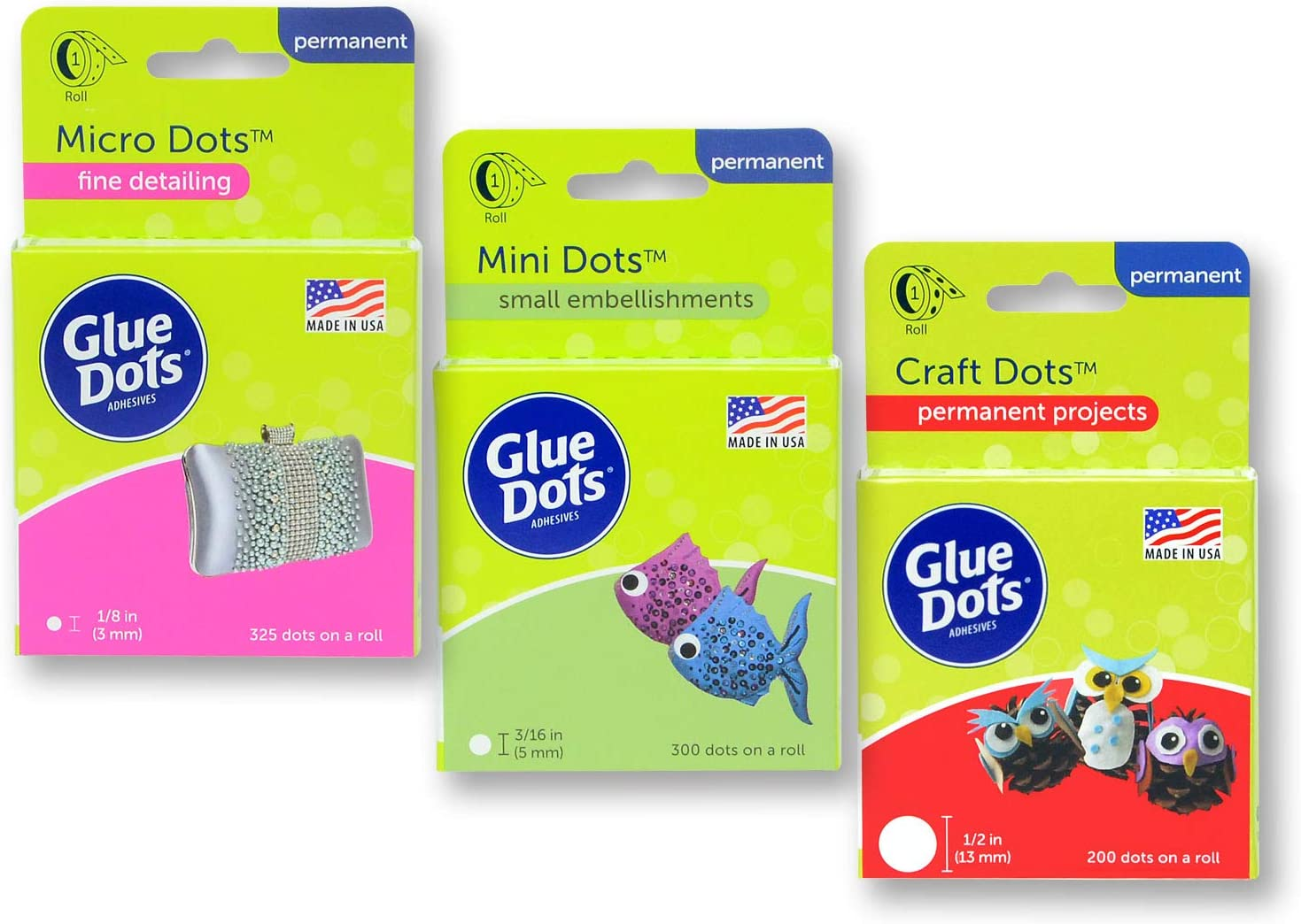 Glue Dots Crafter's Pack - Craft, Mini & Micro Dots Rolls, Clear, 825 Total (38134)