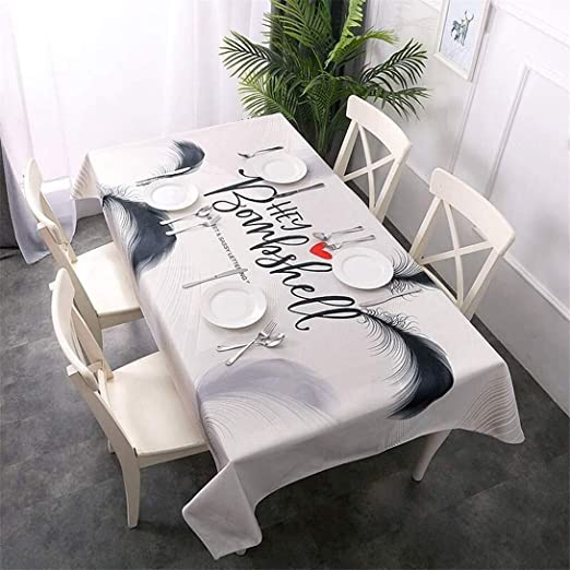 Wdzb Pluma del Mantel Blanco Cocina De Un Restaurante De Los Hogares Cuadro De Tela Resistente Al Agua Antiincrustante Fácil De Limpiar Mantel Desgaste Mantel De Hilo De Algodón Transpirabl: Amazon.es: Hogar