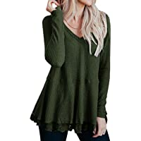 Lrady Women's Casual Tunic Tops V Neck Waffle Knit Lace Trim Flowy Blouse Shirts