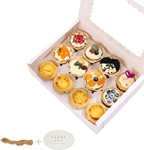 20-Set Cupcake Boxes Hold 12 Cupcakes, White Cupcake Containers With Inserts and Window, Food Grade Cupcake Containers for Cookies, Muffins, Bakeries, Mini Cupcakes (White)