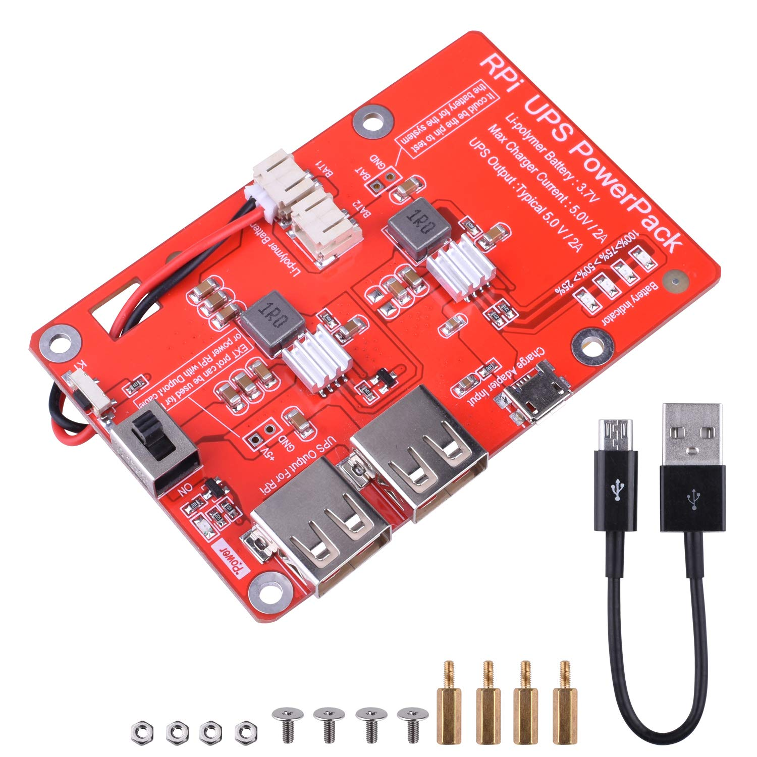 kuman UPS Battery Pack Expansion Board Power Supply for Raspberry Pi 3 Model B, B+,Pi 2 Model B & Pi 1 Model B+ A+ A (New Version Raspberry pi Battery Pack)