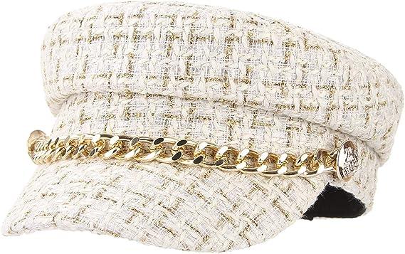 Casquette Voyage B/érets Automne Hiver EOZY Chapeau Octogonal Plat Militaire pour Femmes Chapeau de Marin Mode avec Cha/îne d/'Or Chapeau de Peintre Classique