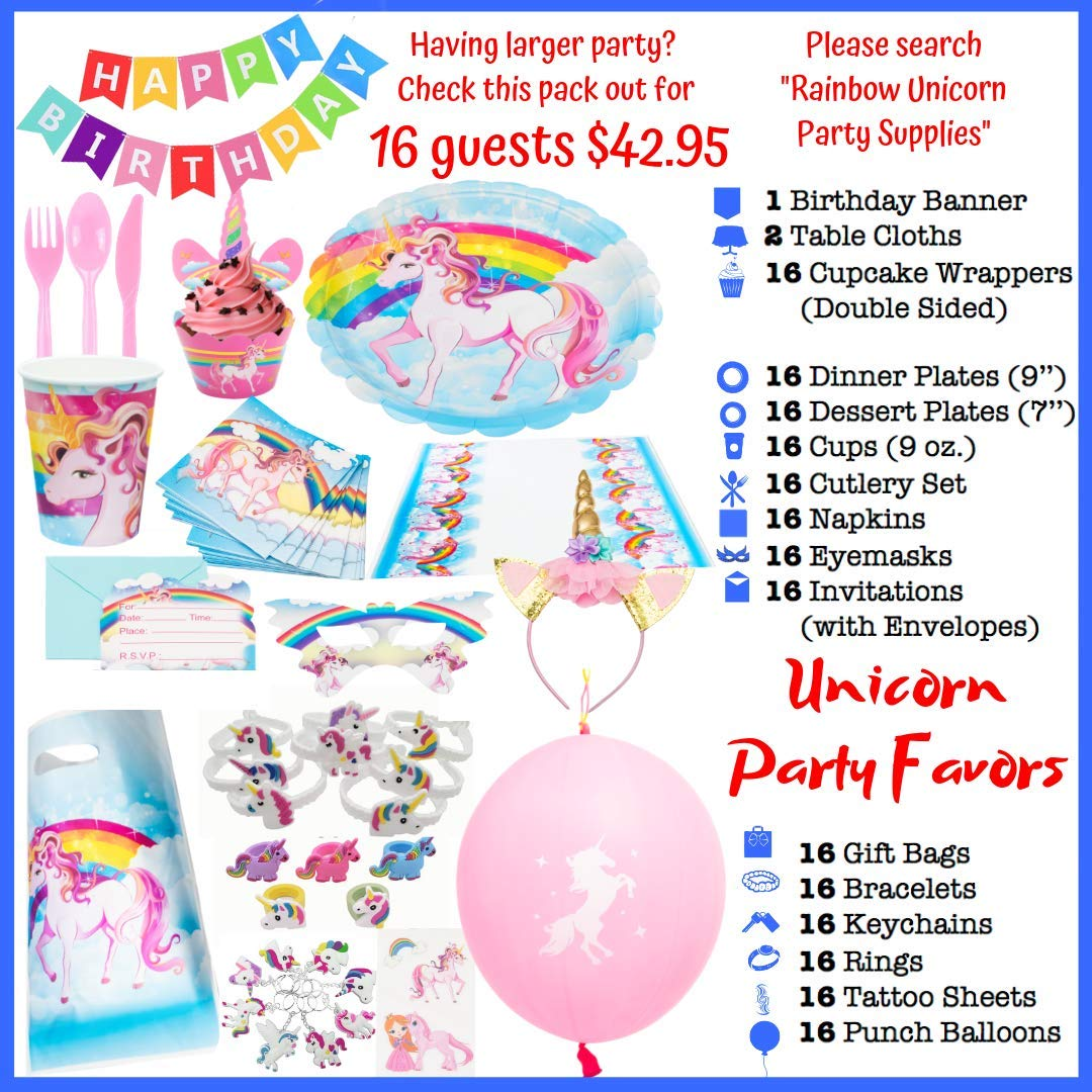 Unicorn Party Supplies - 197 pc Set With Unicorn Themed Party Favors