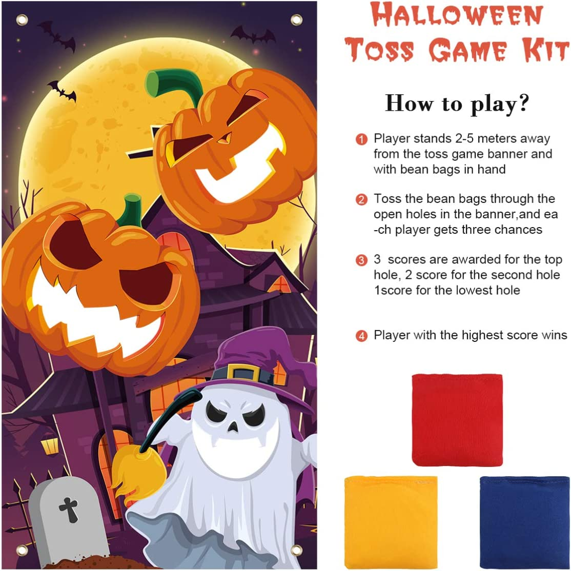 Halloween Toss Game Board Throwing Game Kit Toss Game Banner Kit for Outdoors Indoors Halloween