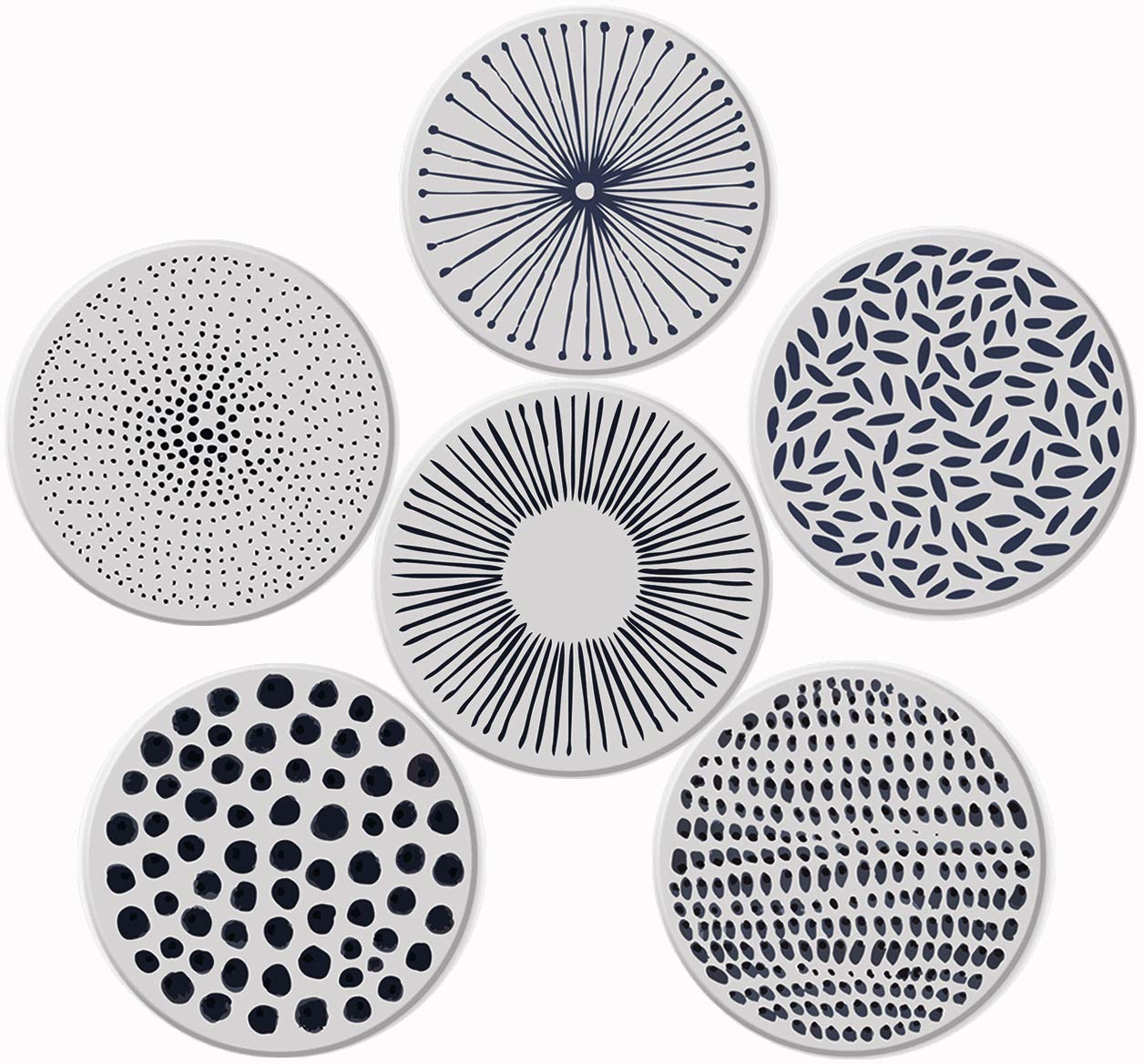 Pandoza Absorbent Coasters For Drinks - Grey Lines On LARGE Ceramic Stone With Cork Backing, Drink spills Thirsty Coaster Set of 6 No Holder, OVERSIZE BETTER Protects Furniture From Damage by Pandoza
