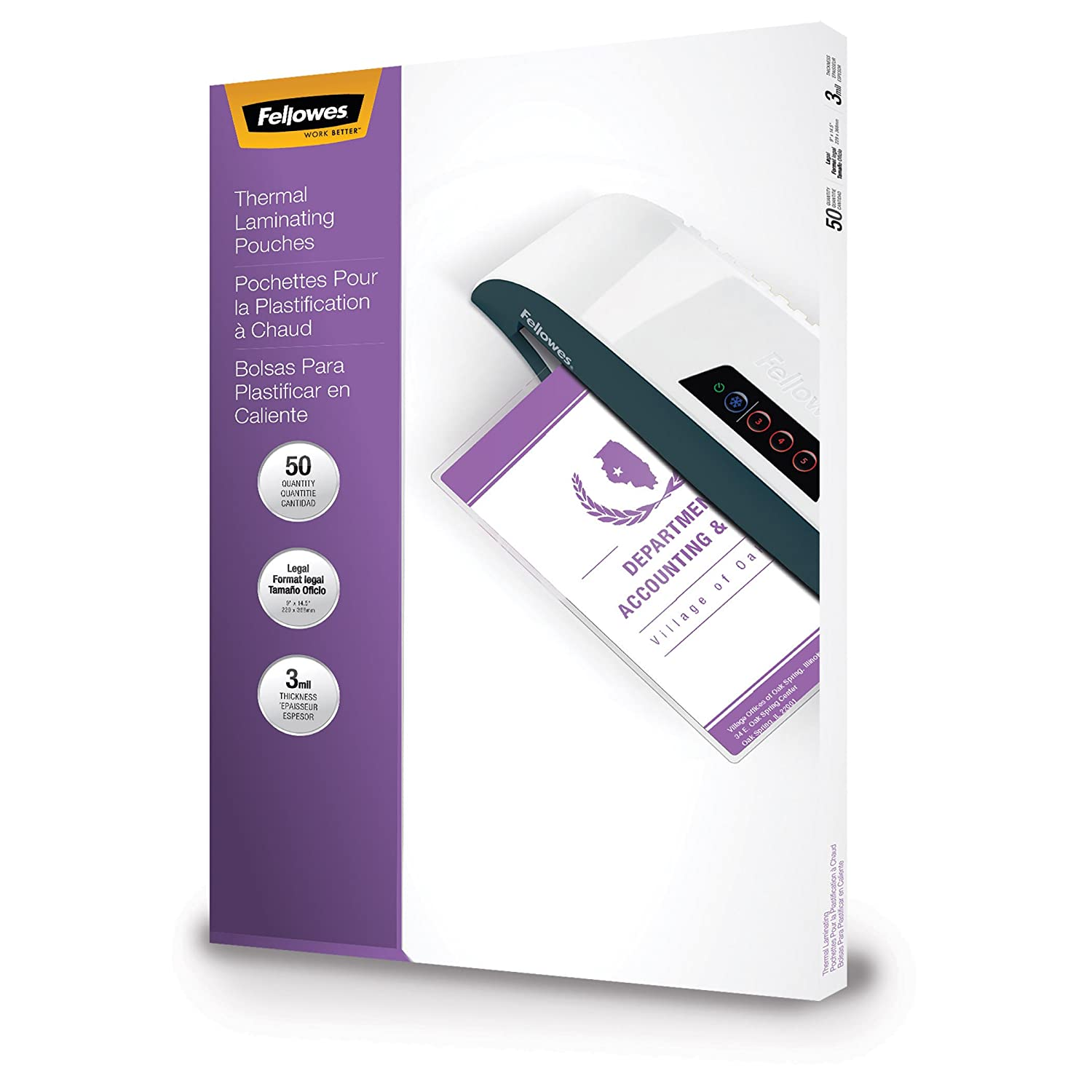 FELLOWES FLW52226, Glossy Legal Document Laminating Pouches, 50-Pack Fellowes Canada Ltd