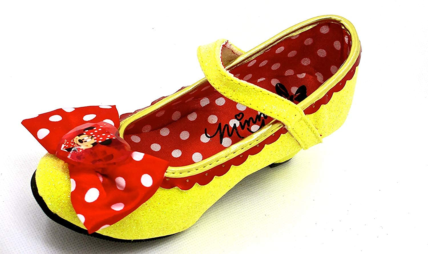 Disney Minnie Mouse Yellow Glitter Shoes,red Bow,girls 11//12