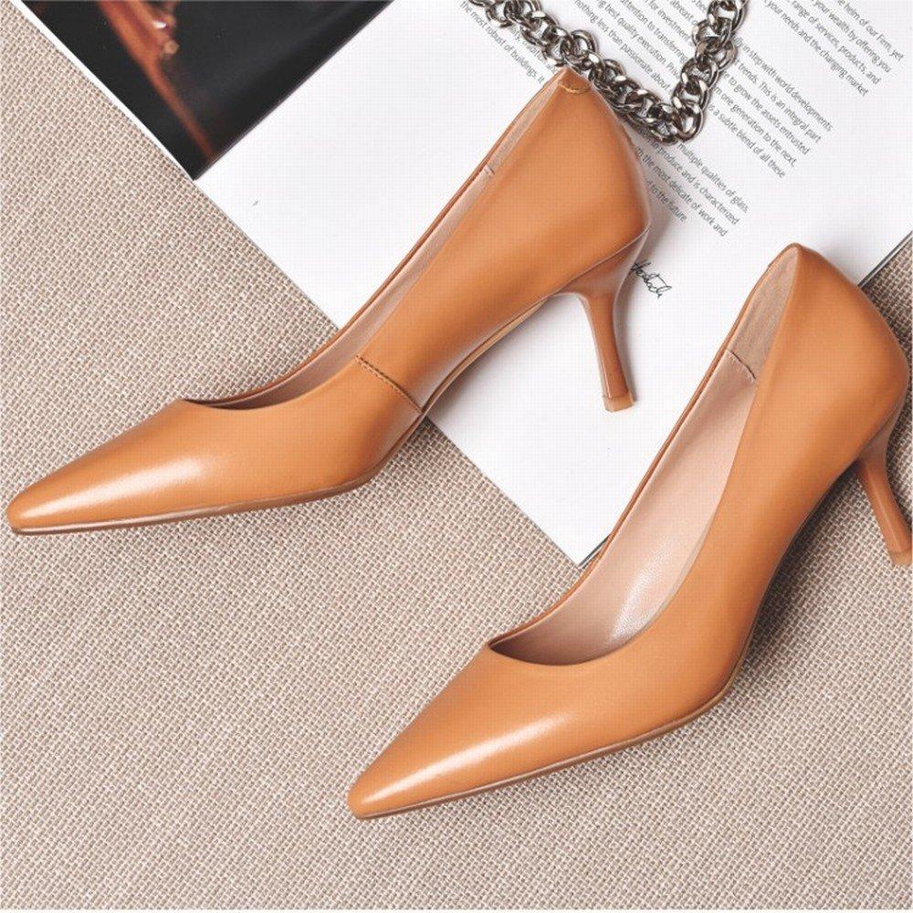 DHG Spitze Einzelne Schuhe Sommer mit Sommerschuhen Temperament Schaffell Schuhe OL mit Nude Farbe High Heel,Ein,39