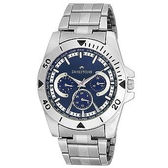 Swisstone Blue Dial Stainless Steel Chain Watch for Men/Boys- ST-GR016-