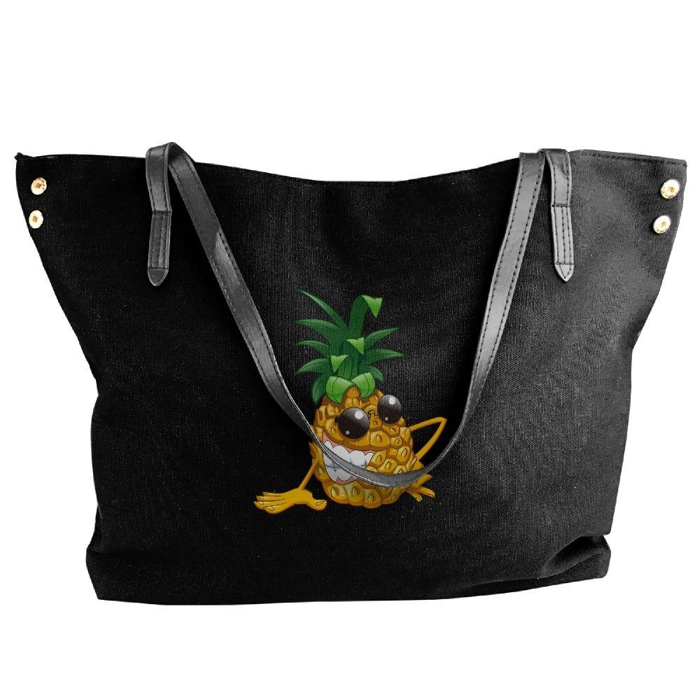 Cartoon Yellow Pineapple Women Handbags Hobo Shoulder Bags Tote Canvas Handbags Fashion Large Capacity Bags Black