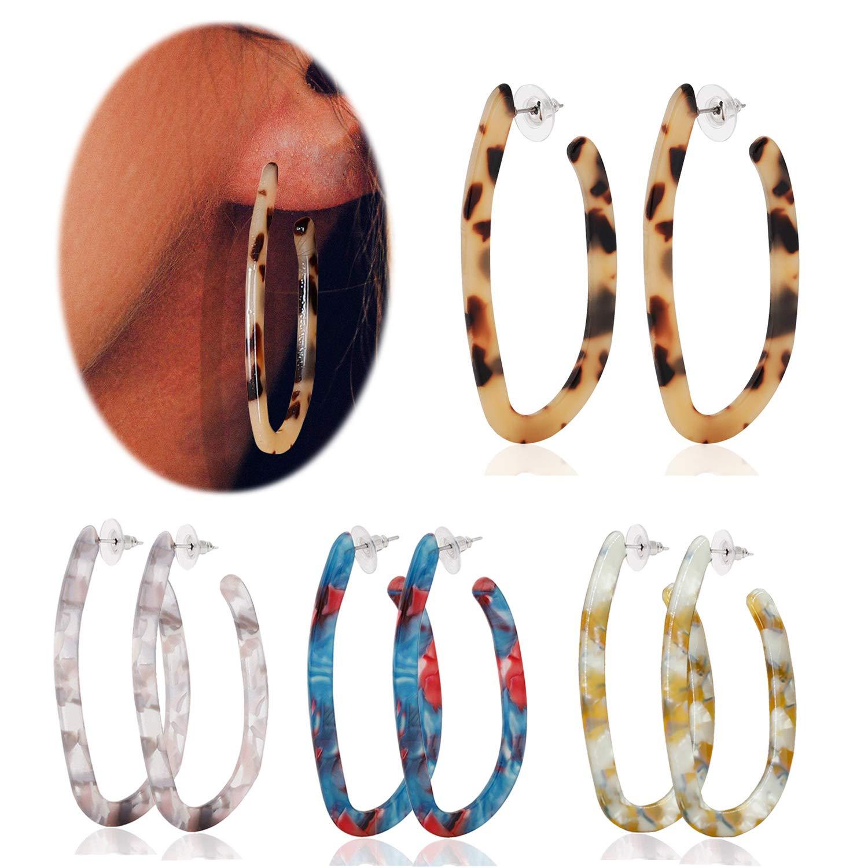 Adramata 4 Pairs Tortoise Acrylic Hoop Earrings for Women Girls Bohemian Statement Resin Fashion Earring Set ADE-4Acrylic