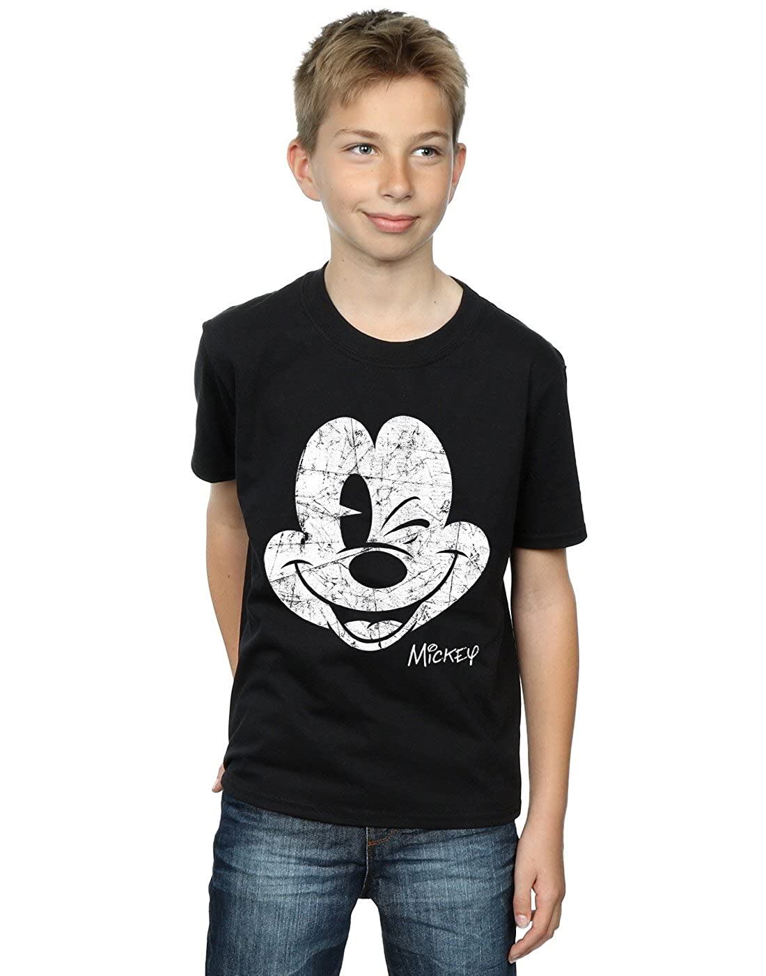Disney Boys Mickey Mouse Distressed Face T-Shirt Absolute Cult