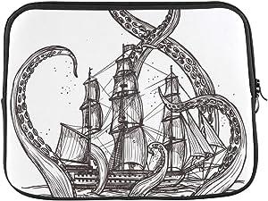 "Design Custom Vintage Octopus Kraken Attacking Sailboat White Sleeve Soft Laptop Case Bag Pouch Skin for MacBook Air 11""(2 Sides)"