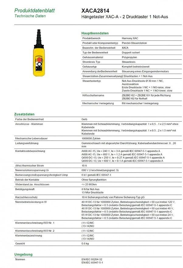 Schneider XACA2814 Hängetaster XAC-A, 2 Drucktaster 1 Not-Aus ...
