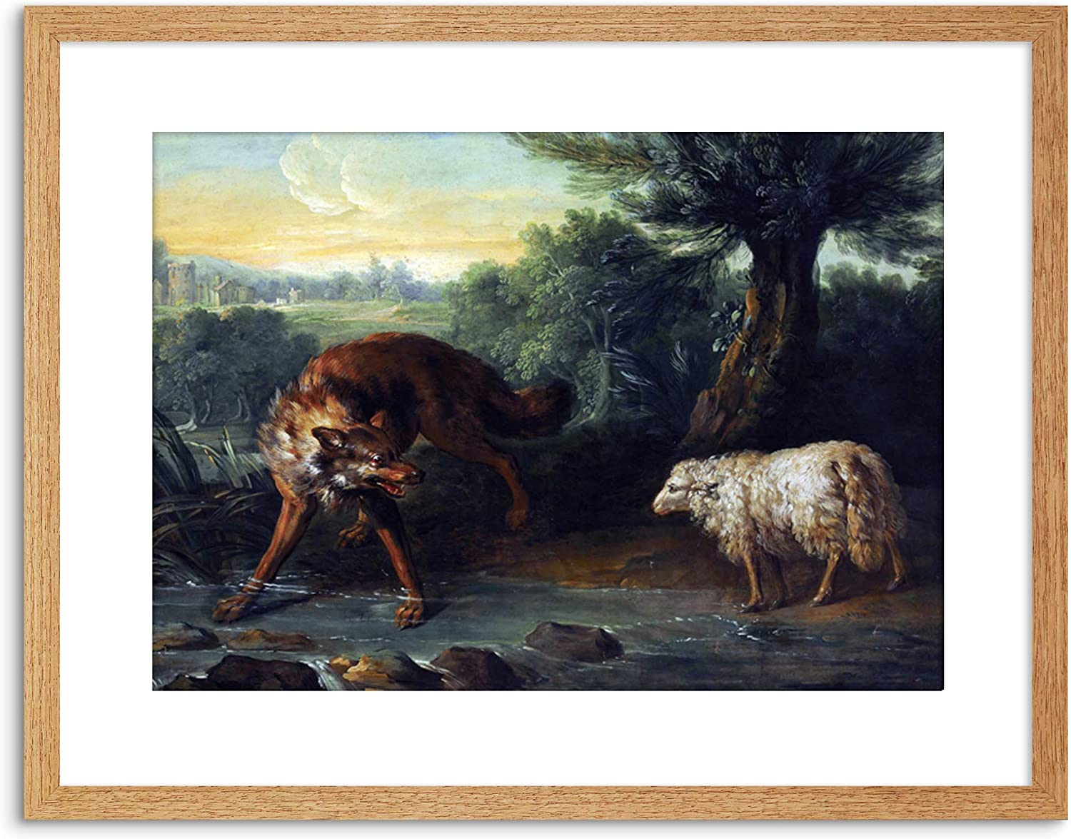 Amazon Com The Art Stop Painting Allegory Greek Aesop Fable Oudry Wolf Lamb Framed Print F97x11408 Posters Prints