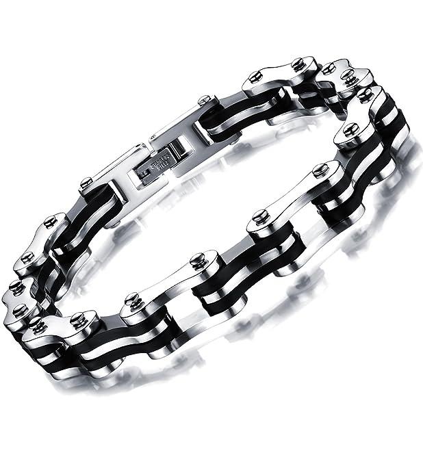 16 opinioni per Ostan- 316L acciaio inossidabile metallo bracciale da uomo, argento e nero-