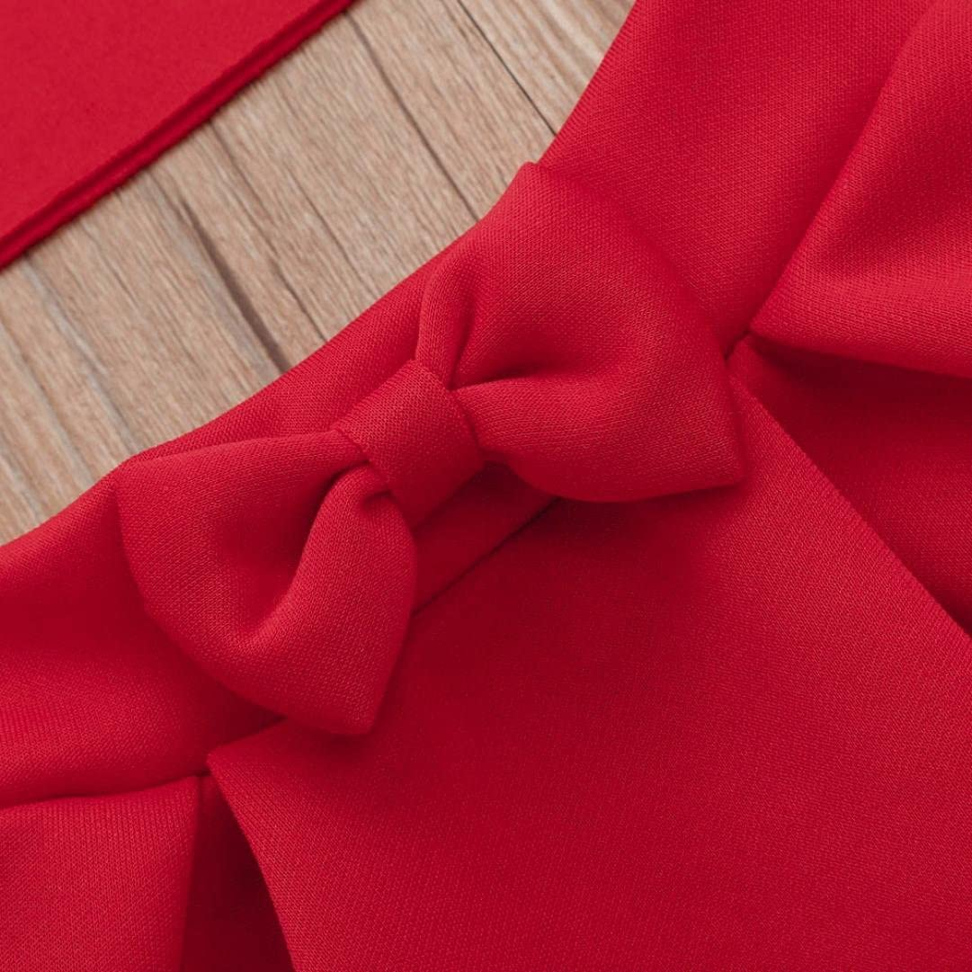 Efaster Toddler Baby Girls Solid Off Shoulder Tops+Bowknot Pleated Skirt Set