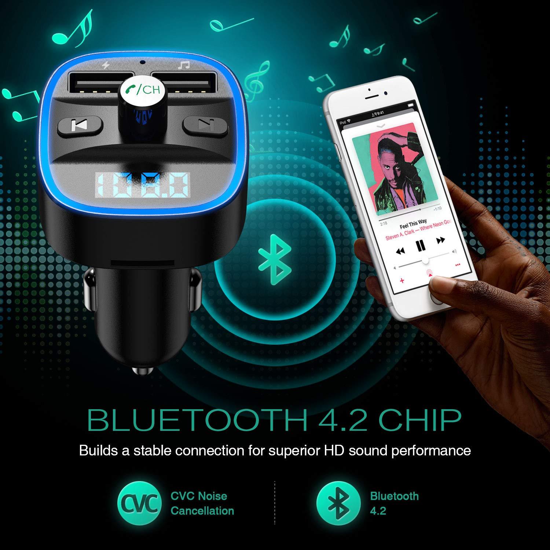 【2019 New】 ORIA Bluetooth FM Transmitter KFZ Auto Radio Adapter mit Mikrofon /& 2 USB Ladeger/ät LED Display Freisprecheinrichtung Car Kit Musik Spielen Perfekt f/ür iOS und Android Ger/äte