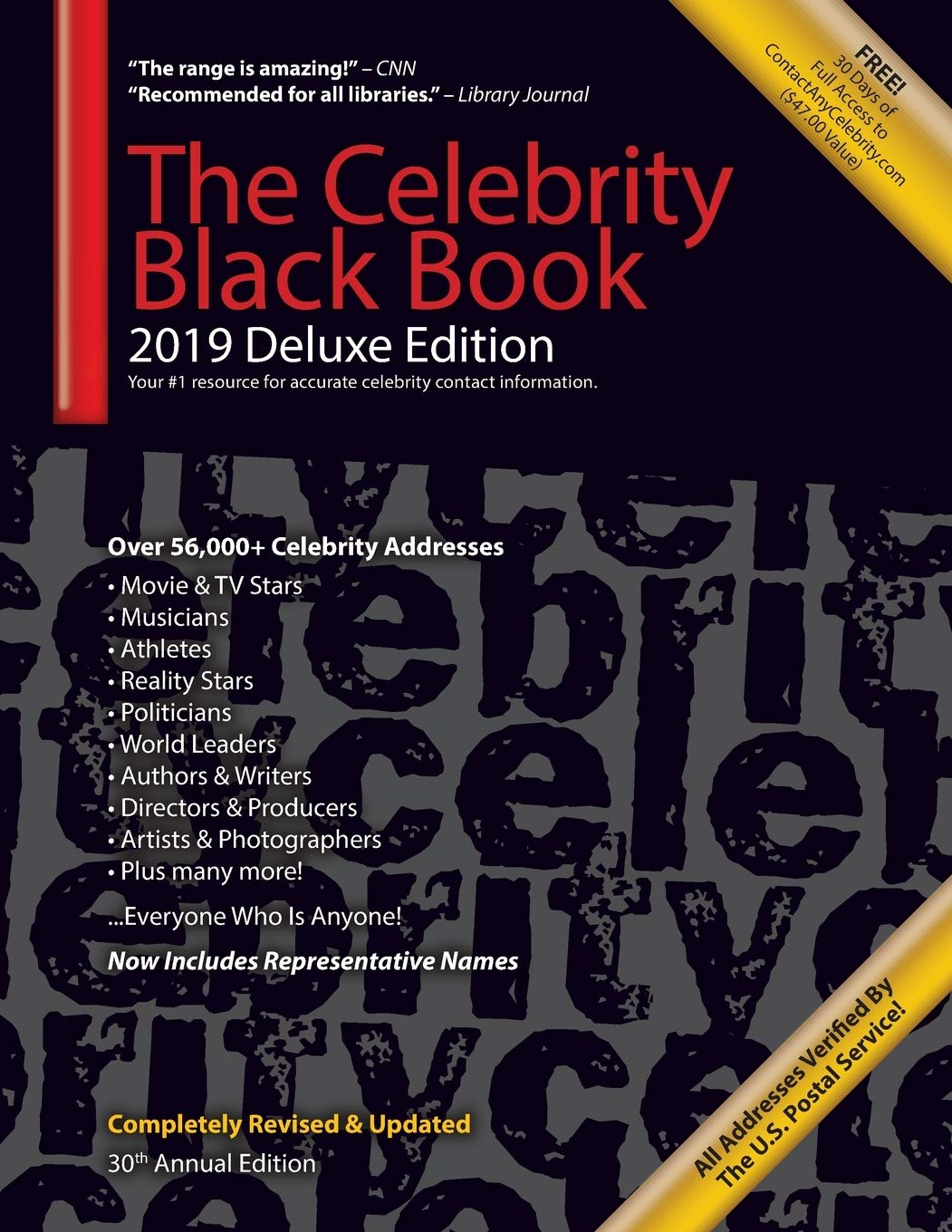 The Celebrity Black Book 2019 (Deluxe Edition): Over 56000+ Verified Celebrity Addresses for Autographs & Memorabilia Nonprofit Fundraising ... Small Business Sales/Marketing & More!