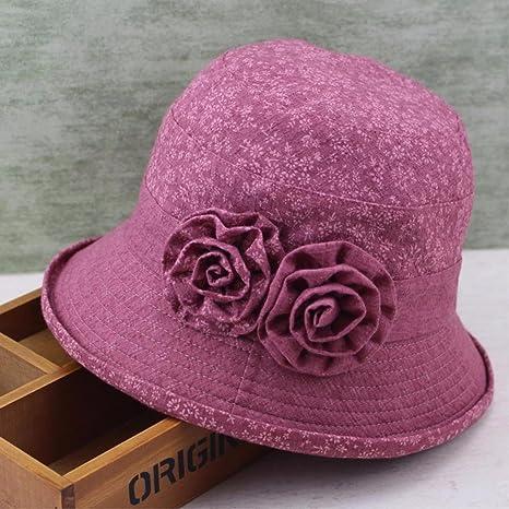 ERLINGSAN-MZ Sombreros De Mujer Casual Verano Otoño Sombrero Viejo Gorra  Cuenca Sombrero 797fdaf3d3c