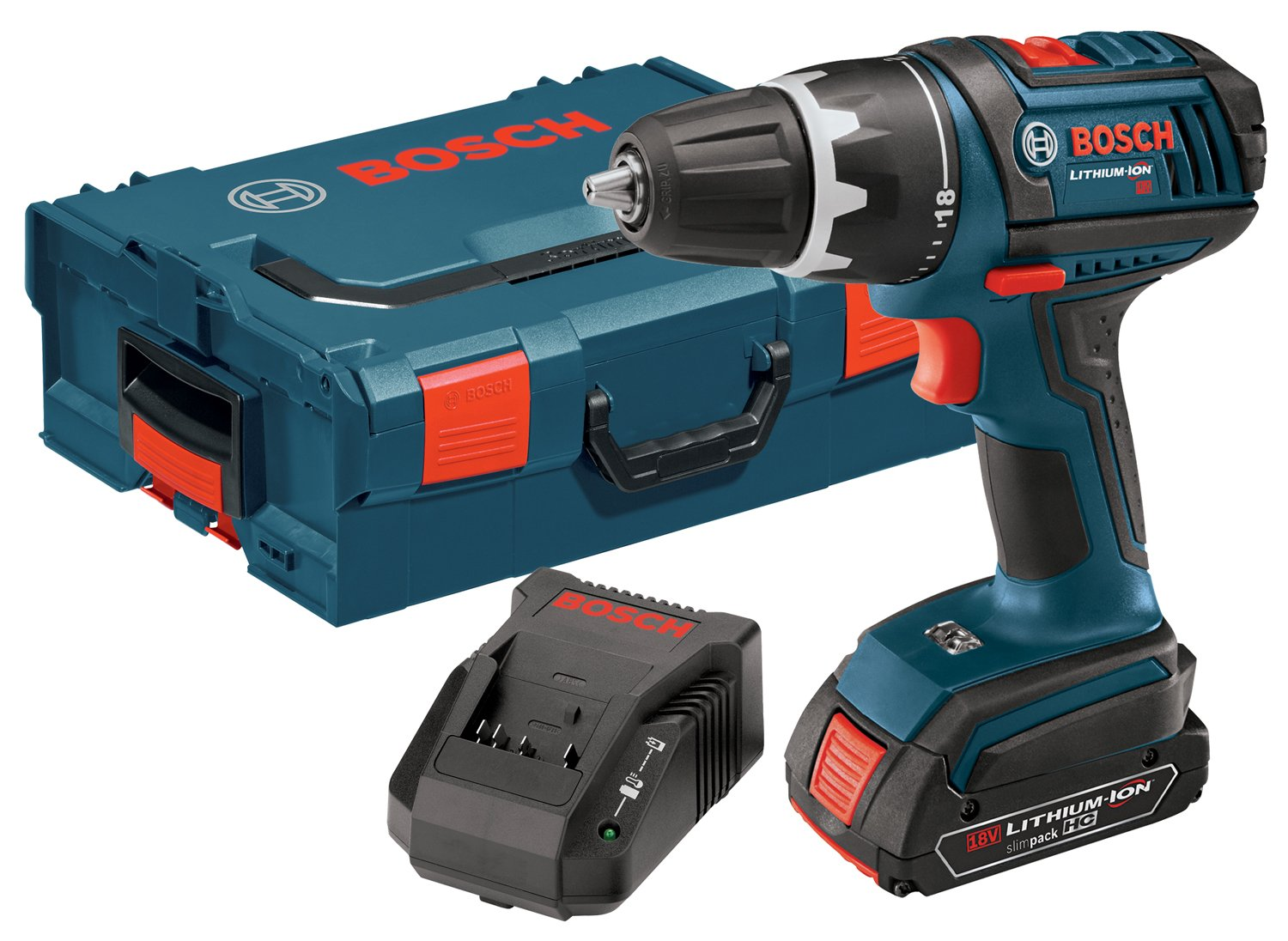 Bosch DDS181-102L 18-Volt Lithium-Ion 1/2-Inch Compact Tough Drill/Driver Kit with High Capacity Battery, Charger and L-BOXX-2 DDS181102L