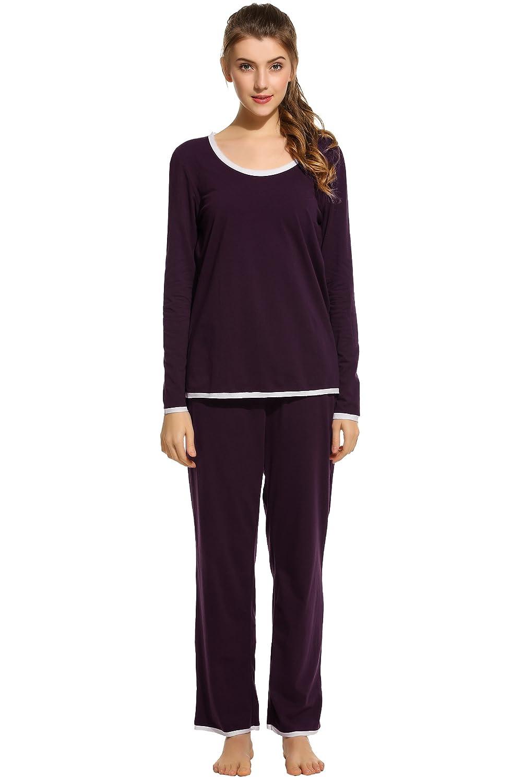 Ekouaer Women's Long Sleeve Top and Pant Comfort Sleepwear Long Sleeve Pajama AMK005374