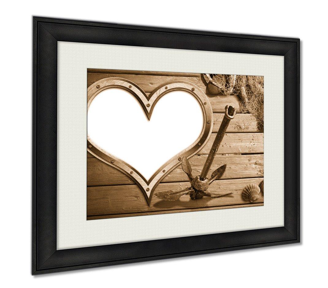 Ashley Framed Prints Love Fishing, Wall Art Home Decoration, Sepia, 26x30 (frame size), AG6311998