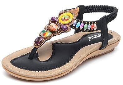 fd8953ec0a5 ODEMA Women Summer Bohemian Gemstone Rhinestone Boho Beach Flip Flops  Elastic T-Strap Flat Sandals